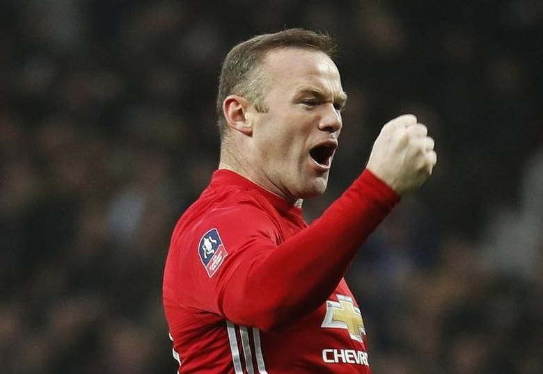 Britain Football Soccer - Manchester United v Reading - FA Cup Third Round - Old Trafford - 7/1/17 Manchester United's Wayne Rooney celebrates scoring their first goal  Reuters / Darren Staples Livepic