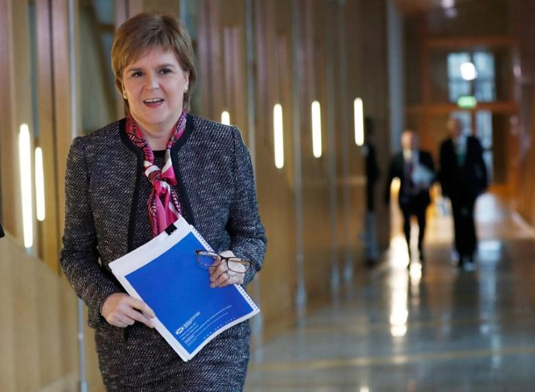Scotland's First Minister Nicola Sturgeon arrives to deliver a statement on Brexit during a session of Scotland's Parliament at Holyrood in Edinburgh, December 20, 2016. REUTERS/Russell Cheyne/Files