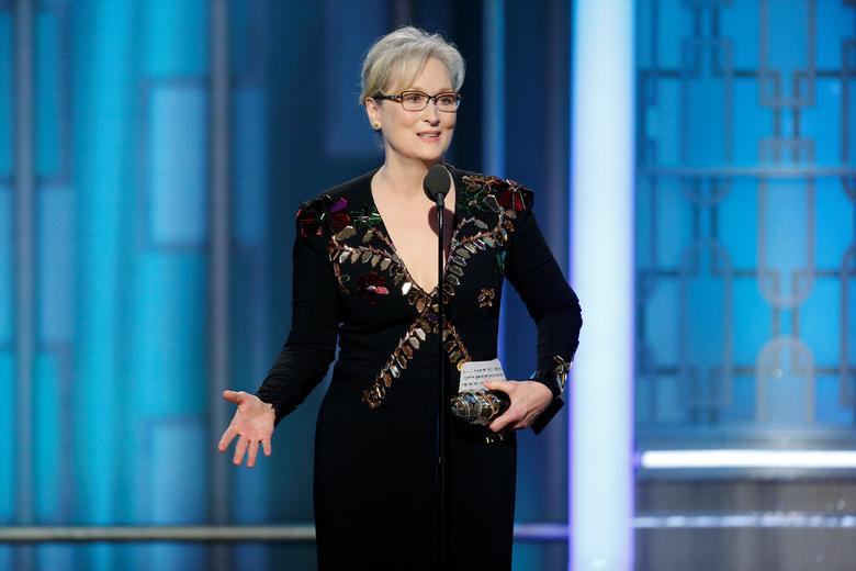 Actress Meryl Streep accepts the Cecil B. DeMille Award. Paul Drinkwater/Courtesy of NBC/Handout via REUTERS