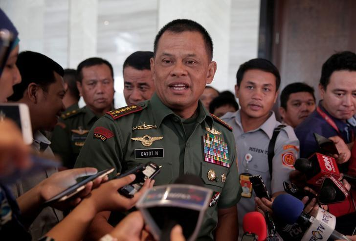 Indonesian military Chief Gatot Nurmantyo talks to reporters in Jakarta, Indonesia, January 5, 2017. REUTERS/Beawiharta/File Photo