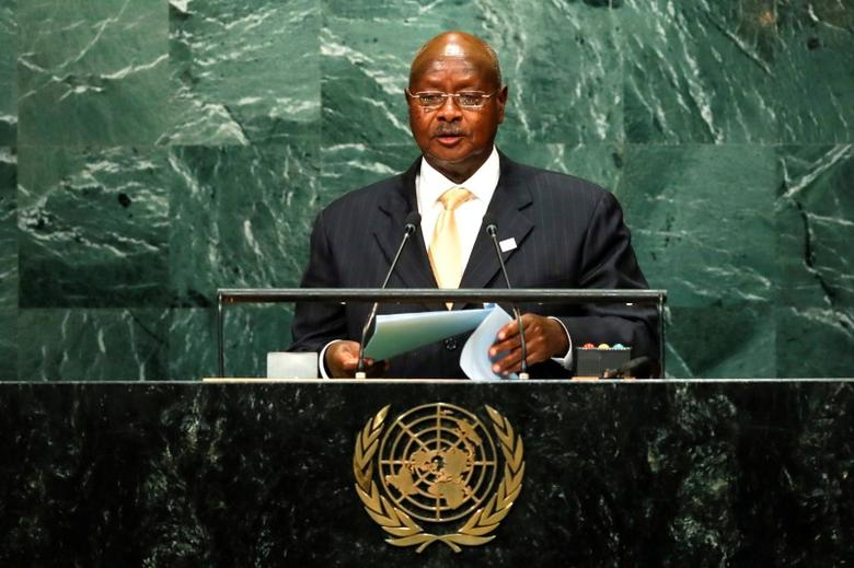 Ugandan President Yoweri Kaguta Museveni addresses the United Nations General Assembly in the Manhattan borough of New York, U.S. September 20, 2016.   REUTERS/Eduardo Munoz
