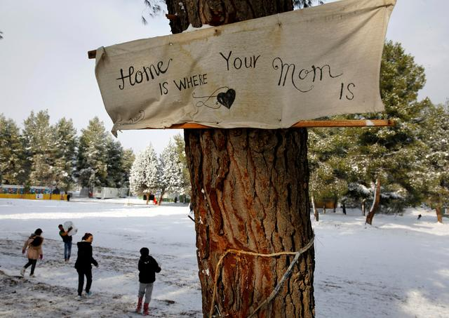 A banner that reads ''Home is where your mom is'' is attached to a tree at a refugee camp north of Athens as  stranded Syrian refugee children play with snow January 10, 2017.REUTERS/Yannis Behrakis