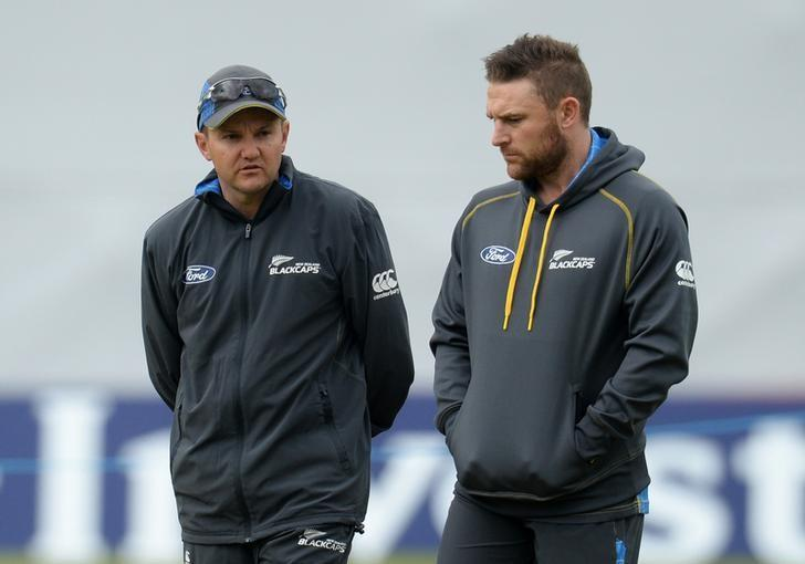 Cricket - New Zealand Nets - Headingley - 27/5/15New Zealand's Mike Hesson and Brendon McCullum during netsAction Images via Reuters / Philip BrownLivepic