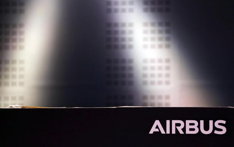 The logo of Airbus is pictured on a desk during the annual Airbus Commercial Press Briefing in Blagnac, Southwestern France, January 11, 2017. REUTERS/Regis Duvignau