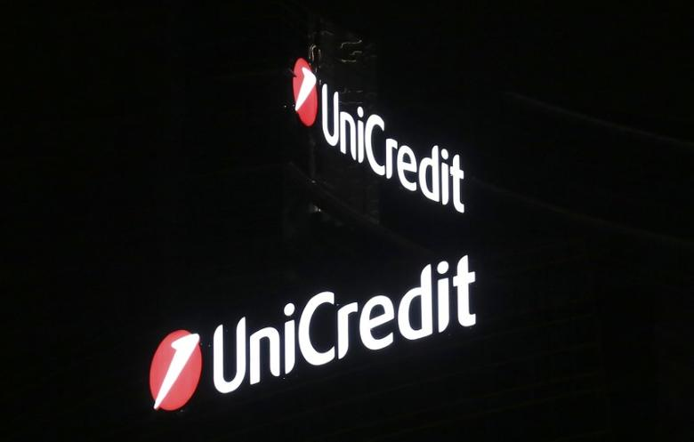 A logo of UniCredit is seen in downtown Milan, August 18, 2014. REUTERS/Stefano Rellandini