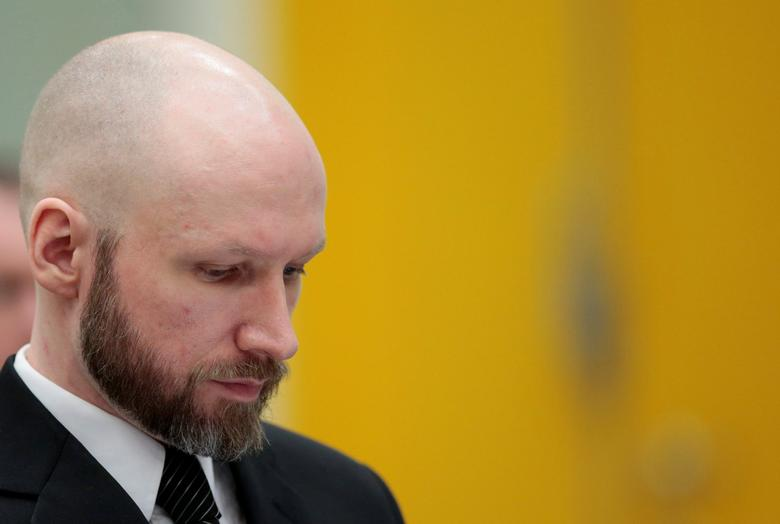 Anders Behring Breivik reacts during the appeal case in Borgarting Court of Appeal at Telemark prison in Skien, Norway, January 10, 2017. NTB Scanpix/Lise Aaserud via REUTERS