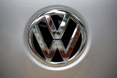 FILE PHOTO: A Volkswagen logo is seen at a dealership in Seoul, South Korea, August 2, 2016. REUTERS/Kim Hong-Ji/File Photo - RTX2YF74