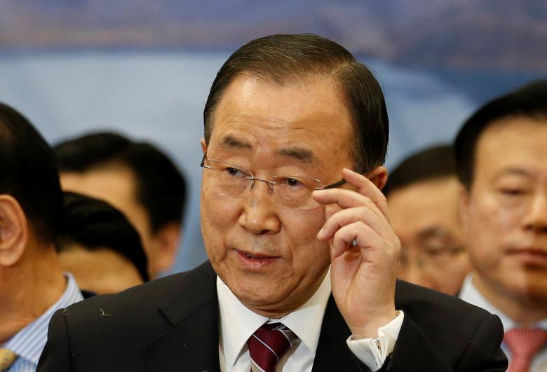 Former UN chief Ban Ki-moon speaks during a news conference upon his arrival at the Incheon International Airport in Incheon, South Korea, January 12, 2017.  REUTERS/Kim Hong-Ji