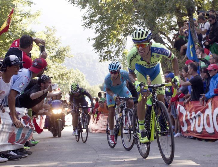 FILE PHOTO - Tinkoff-Saxo's team rider Rafael Majka (R) and Astana's Mikel Landa of Spain ride during the 16th stage of the Vuelta Tour of Spain cycling race from Luarca to Ermita del Alba, northern Spain, September 7, 2015. REUTERS/Joseba Etxaburu