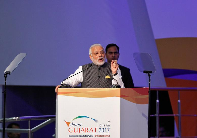 India's Prime Minister Narendra Modi addresses the delegation at the Vibrant Gujarat investor summit in Gandhinagar, India, January 10, 2017. REUTERS/Amit Dave