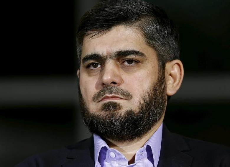 Mohammad Alloush of the Jaish al Islam faction and member of the High Negotiations Committee (HNC) attends a news conference after a meeting with U.N. mediator Staffan de Mistura during Syria Peace talks at the United Nations in Geneva, Switzerland, April 13, 2016.  REUTERS/Denis Balibouse/File Photo