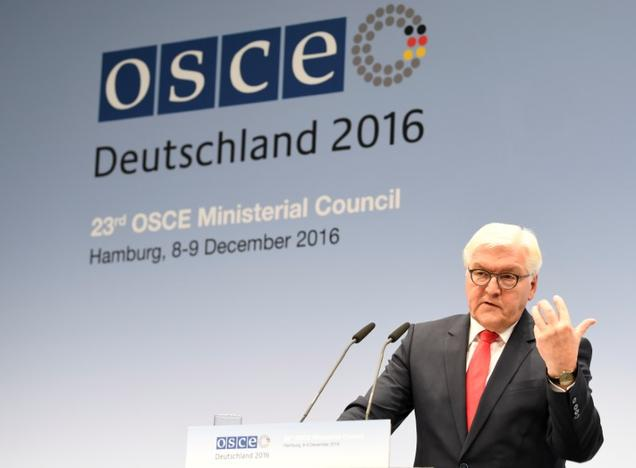 German Foreign Minister Frank-Walter Steinmeier and his Austrian counterpart Sebastian Kurz (not pictured) address media at the 23rd OSCE Ministerial Council organized by Germany's OSCE Chairmanship in Hamburg, Germany December 9, 2016. REUTERS/Fabian Bimmer