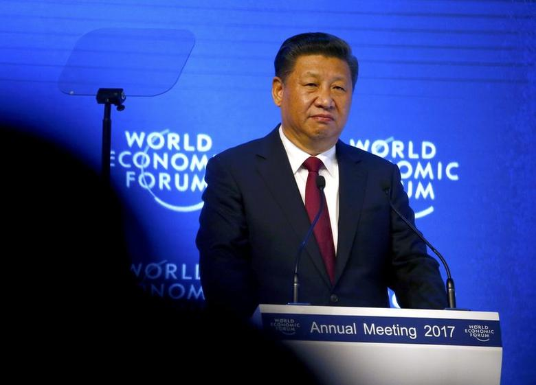 Chinese President Xi Jinping attends the World Economic Forum (WEF) annual meeting in Davos, Switzerland January 17, 2017.  REUTERS/Ruben Sprich