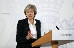 Premiê britânica, Theresa May, discursa em Londres. 17/01/2017 REUTERS/Kirsty Wigglesworth