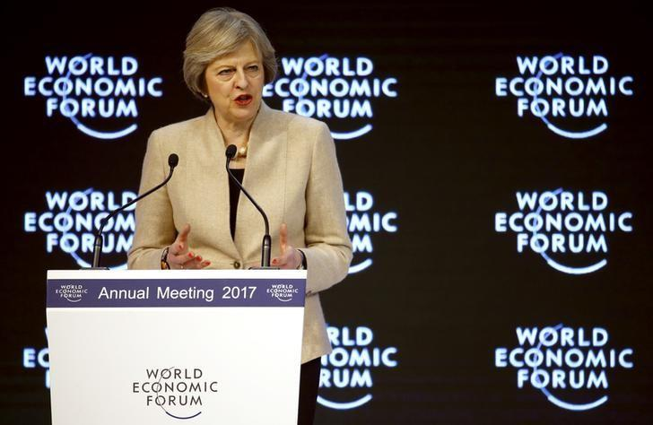 Britain's Prime Minister Theresa May attends the World Economic Forum (WEF) annual meeting in Davos, Switzerland January 19, 2017.  REUTERS/Ruben Sprich
