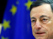 FILE PHOTO: European Central Bank (ECB) President Mario Draghi addresses the European Parliament's Economic and Monetary Affairs Committee in Brussels, Belgium, November 28, 2016.   REUTERS/Yves Herman/File Photo