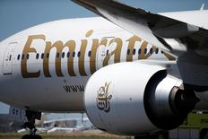An Emirates plane is seen at Lisbon's airport, Portugal June 24, 2016. REUTERS/Rafael Marchante