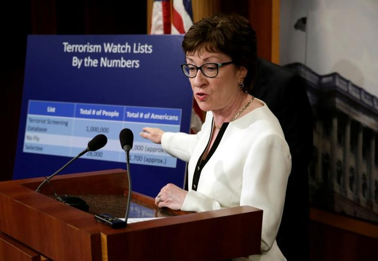 Senator Susan Collins (R-ME) speaks at a news conference with a bipartisan group of senators on Capitol Hill in Washington, D.C., U.S., to unveil a compromise proposal on gun control measures, June 21, 2016. REUTERS/Yuri Gripas