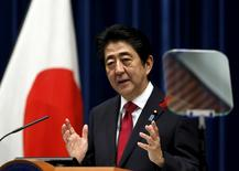 FILE PHOTO -  Japan's Prime Minister Shinzo Abe speaks during a news conference at his official residence in Tokyo, Japan, October 6, 2015.  REUTERS/Yuya Shino/File Photo