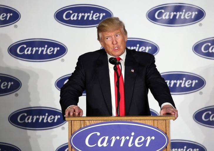 U.S. President-Elect Donald Trump speaks at event at Carrier HVAC plant in Indianapolis, Indiana, U.S., December 1, 2016. REUTERS/Chris Bergin