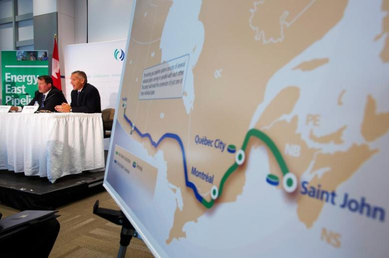 TransCanada President and CEO Russ Girling (2nd L) announces the new Energy East Pipeline during a news conference in Calgary, Alberta, August 1, 2013. REUTERS/Todd Korol/File Photo
