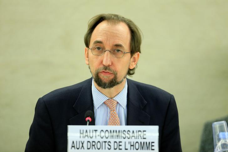 United Nations High Commissioner for Human Rights Zeid Ra'ad Al Hussein addresses the Human Rights Council 26th Special Session on the human rights situation in South Sudan, Geneva, Switzerland, December 14, 2016. REUTERS/Pierre Albouy
