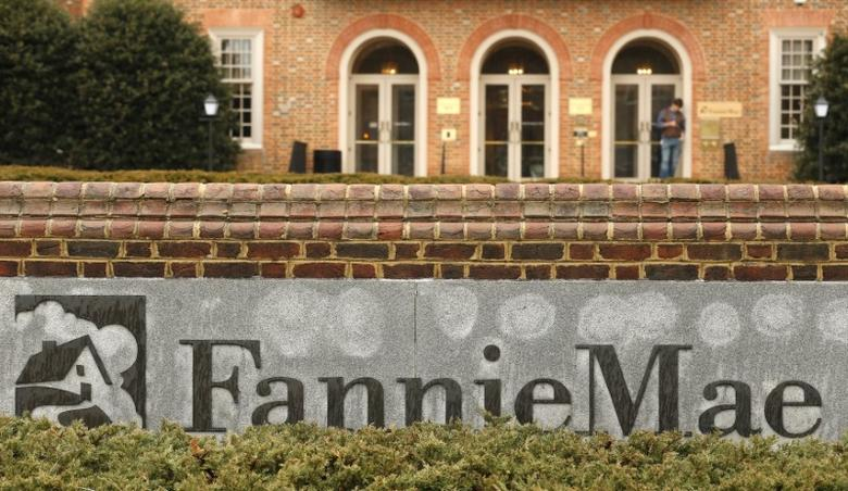 A stands outside Fannie Mae headquarters in Washington February 21, 2014. REUTERS/Kevin Lamarque