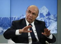 O ministro da Fazenda do Brasil, Henrique Meirelles, durante o Fórum Econômico Mundial em Davos, na Suíça 18/01/2017 REUTERS/Ruben Sprich