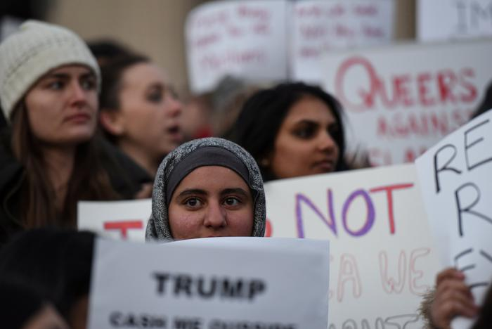 FILE PHOTO - People participate in a protest against President Donald Trump's travel ban at Columbia University in New York City, U.S. January 30, 2017. REUTERS/Stephanie Keith/File Photo