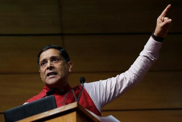 India's chief economic advisor Arvind Subramaniam gestures as he addresses the media during a news conference, in New Delhi, January 31, 2017. REUTERS/Adnan Abidi