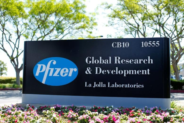 The logo of Dow Jones Industrial Average stock market index listed company Pfizer is pictured here in La Jolla, California April 21, 2016.  REUTERS/Mike Blake