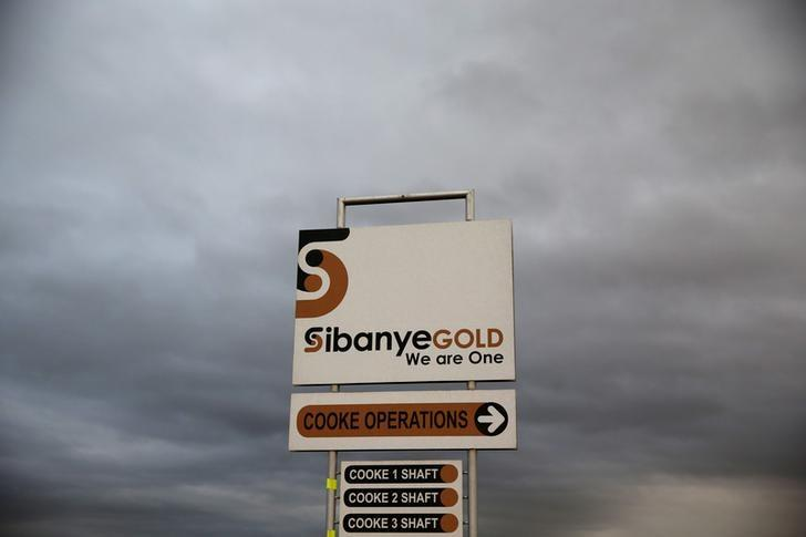 A sign board is seen near the Sibanye gold mine in Westonaria, west of Johannesburg, South Africa, April 6, 2016. REUTERS/Siphiwe Sibeko/File Photo