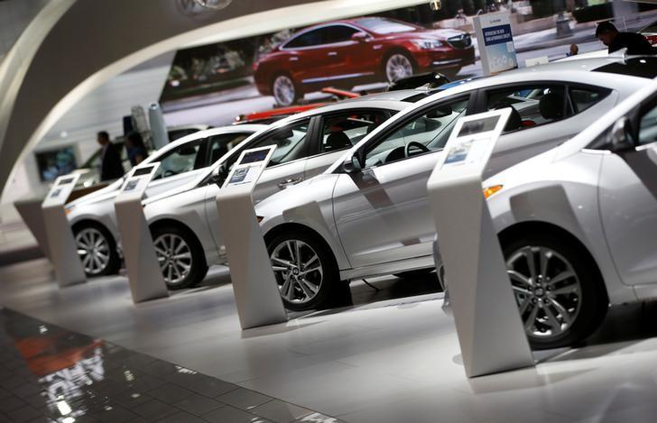 FILE PHOTO -  Hyundai vehicles are lined up in the company's presentation area during the North American International Auto Show in Detroit, Michigan, U.S., January 10, 2017. REUTERS/Mark Blinch/File Photo