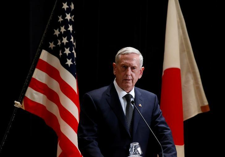 U.S. Defense Secretary Jim Mattis speaks at a joint news conference with  Japan's Defense Minister Tomomi Inada after their meeting at the Defense Ministry in Tokyo, Japan, February 4, 2017.    REUTERS/Toru Hanai/Files