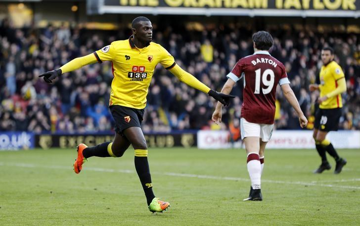 Britain Football Soccer - Watford v Burnley - Premier League - Vicarage Road - 4/2/17 Watford's M'Baye Niang celebrates scoring their second goal  Reuters / Darren Staples Livepic