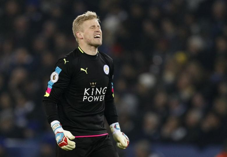 Britain Soccer Football - Leicester City v Manchester United - Premier League - King Power Stadium - 5/2/17 Leicester City's Kasper Schmeichel looks dejected  Reuters / Darren Staples Livepic