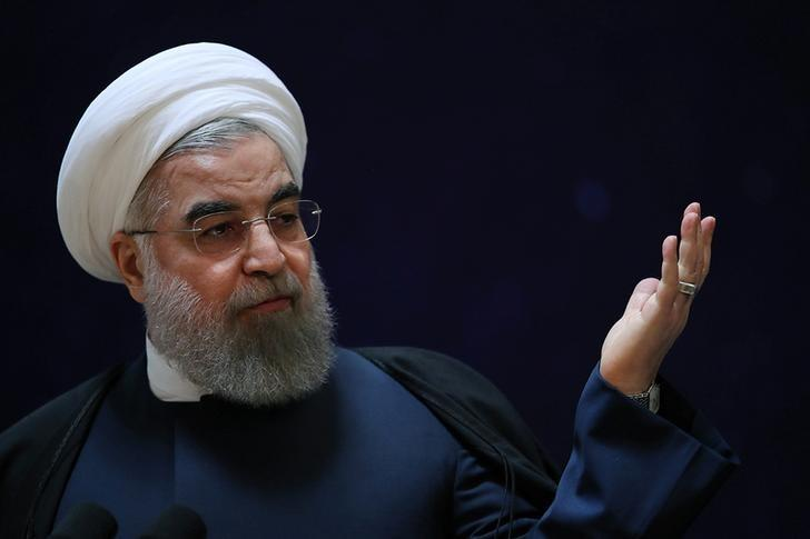 Iran's President Hassan Rouhani gestures as he speaks during a ceremony marking National Day of Space Technology in Tehran, Iran February 1, 2017. President.ir/Handout via REUTERS