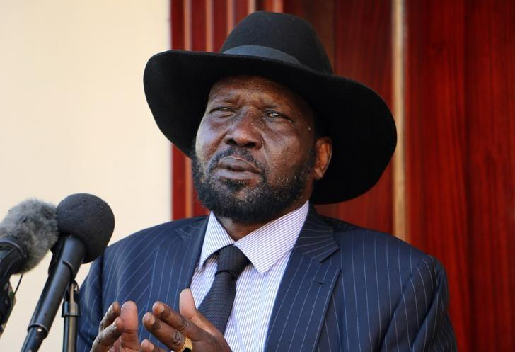 South Sudan President Salva Kiir addresses members of the media after taking a tour around the capital Juba, South Sudan, October 12, 2016. Picture taken October 12, 2016. REUTERS/Jok Solomon/Files