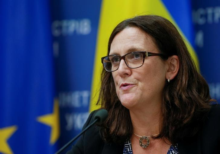 EU Trade Commissioner Cecilia Malmstrom attends a news conference in Kiev, Ukraine, September 30, 2016. REUTERS/Valentyn Ogirenko