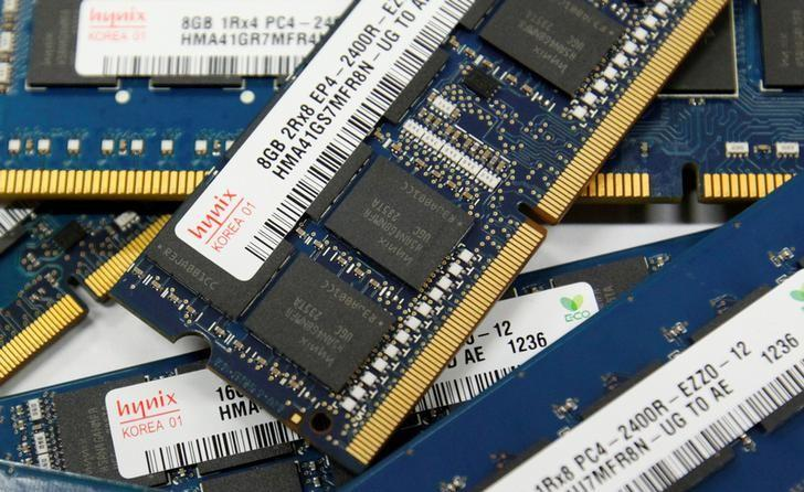 SK Hynix Inc's DRAM modules are seen in this picture illustration taken at the company's main office building in Seoul October 24, 2012. REUTERS/Kim Hong-Ji/File Photo