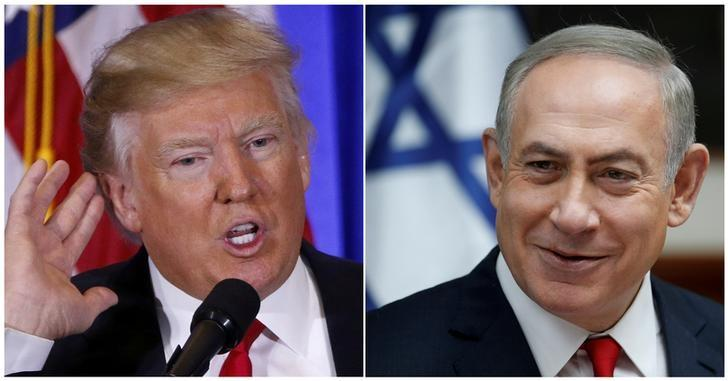 U.S. President Donald Trump speaks during a news conference in the lobby of Trump Tower in Manhattan, New York City, U.S., January 11, 2017 and Israeli Prime Minister Benjamin Netanyahu attends the weekly cabinet meeting in Jerusalem January 22, 2017 in a combination of file photos. REUTERS/Lucas Jackson/Ronen Zvulun/File Photo