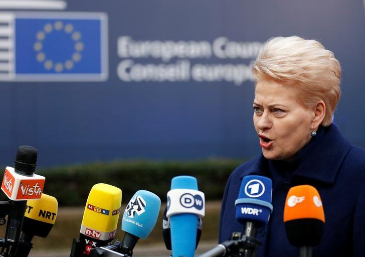 Lithuania's President Dalia Grybauskaite arrives at a European Union leaders summit in Brussels, Belgium December 15, 2016. REUTERS/Francois Lenoir/Files