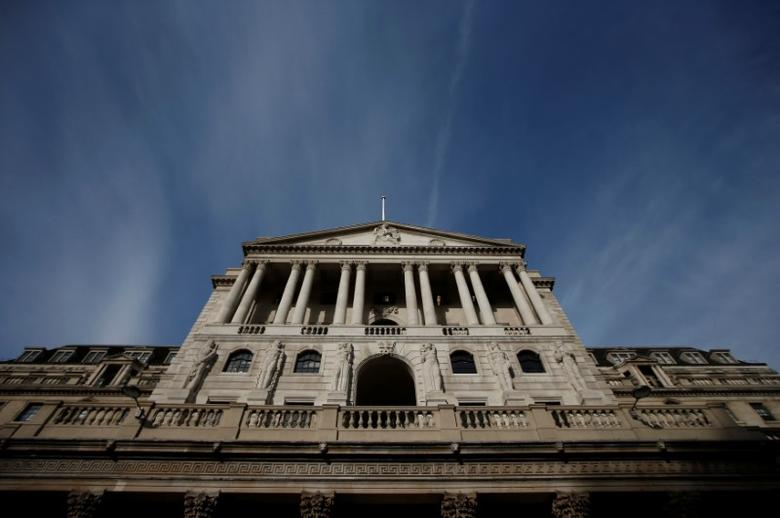 FILE PHOTO:  A blue sky is seen above the Bank of England in the City of London, Britain, November 3, 2016.     REUTERS/Peter Nicholls/File Photo