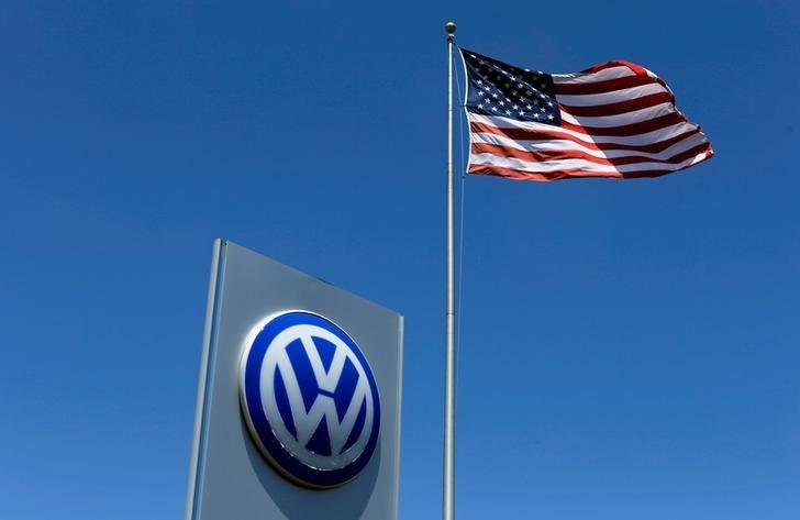 FILE PHOTO: A U.S. flag flutters in the wind above a Volkswagen dealership in Carlsbad, California, U.S. May 2, 2016.  REUTERS/Mike Blake/File Photo