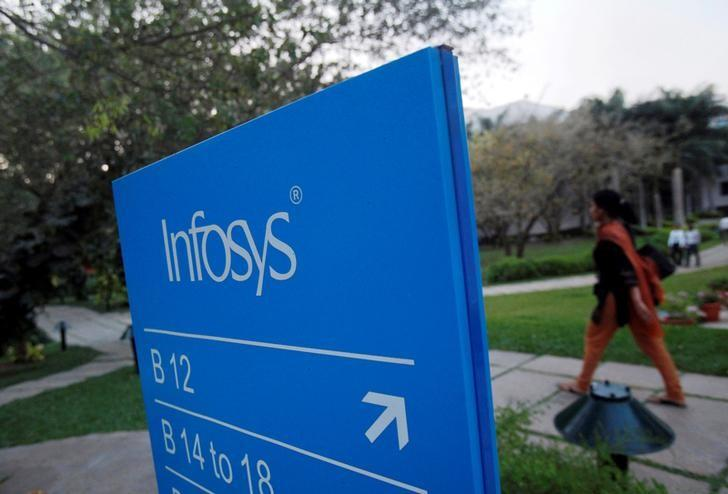 FILE PHOTO -  An employee walks past a signage board in the Infosys campus at the Electronics City IT district in Bengaluru, India, February 28, 2012. REUTERS/Vivek Prakash/File Photo