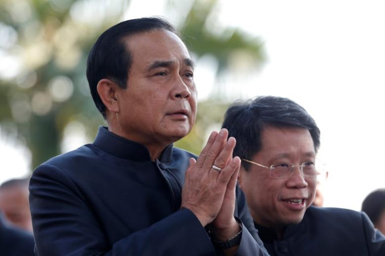 Thailand's Prime Minister Prayuth Chan-ocha gestures in a traditional greeting as he arrives at a weekly cabinet meeting at the Government House in Bangkok, Thailand, February 7, 2017. REUTERS/Chaiwat Subprasom