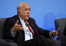La Organización para la Cooperación y el Desarrollo Económicos (OCDE) dijo el miércoles que, de acuerdo a sus indicadores adelantados, se aprecia una recuperación en el crecimiento económico de Estados Unidos, Japón, Alemania y Francia. En la imagen, el secretario general de la OCDE, Ángel Gurría, durante una conferencia en Londres, el 12 de mayo de 2016. REUTERS/Adrian Dennis/Pool