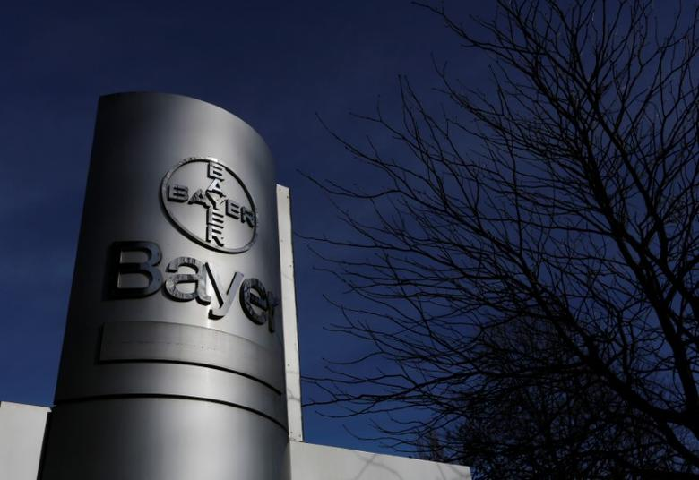 FILE PHOTO - The logo of Bayer AG is pictured at the Bayer Healthcare subgroup production plant in Wuppertal February 24, 2014.  REUTERS/Ina Fassbender/File Photo