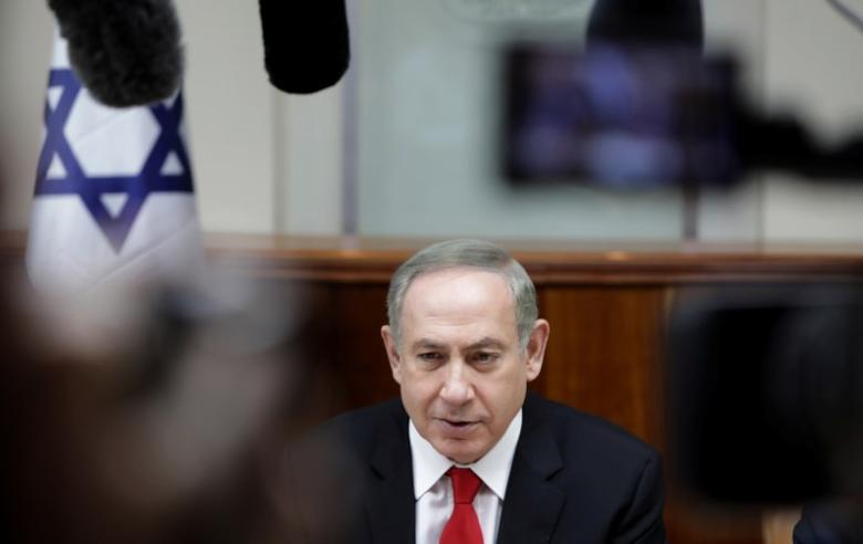 Israeli Prime Minister Benjamin Netanyahu attends a weekly cabinet meeting in Jerusalem February 5, 2017. REUTERS/Dan Balilty