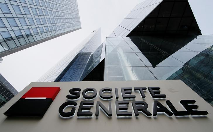 The logo of the French bank Societe Generale is seen in front of the bank's headquarters building at La Defense business and financial district in Courbevoie near Paris, France, April 21, 2016. REUTERS/Gonzalo Fuentes/Files